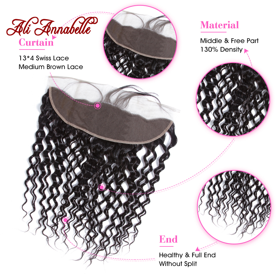 """Water Wave Ear to Ear Lace Frontal Closure 13*4 Free/Middle Part With Baby Hair 10 20"""" Brazilian Water Wave Human Remy Hair-in Closures from Hair Extensions & Wigs    2"""