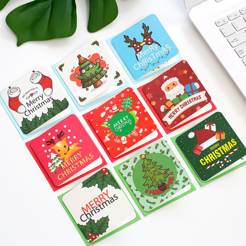 24Pcs/Set Merry Christmas Snowman Elk Santa Claus Greeting Cards Christmas And New Year Postcard Gift