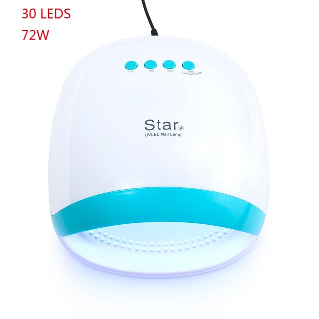 72W UV LED Nail Lmap Star4 Nail Dryer LED 30 LEDs UV Ice Lamp Dryer For Drying Gel Nail Polish Auto Sensor Timer Ice Manicure