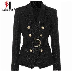 Image 2 - Blazer negro de invierno de alta calidad para mujer, chaqueta de abrigo corta delgada con doble botón dorado y cinturón de lana brillante, traje de oficina, Blazer para mujer