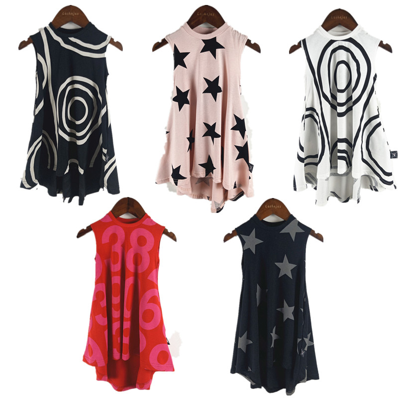 BOBOZONE  sleeveless Five-pointed Star dress black Circle dress Number dress 5 colors for kids girlsBOBOZONE  sleeveless Five-pointed Star dress black Circle dress Number dress 5 colors for kids girls