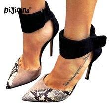 c5b5dd30 Dijigirls nueva moda en Punta solo Zapatos mujeres Tacones Oficina señora  Vogue patrón sexy serpiente Bombas tamaño 35-40 negro