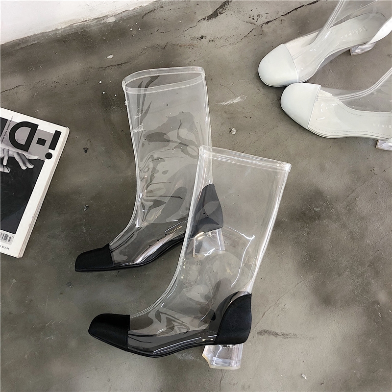 2018 spring and summer women new style the same stars transparent short boots female crystal heel and round toe slip-on boots the new spring and summer ms south korea ensure their boots comfortable show female water thin antiskid tall canister shoe