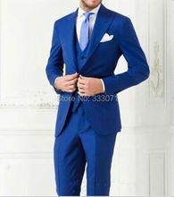 Royal Blue Two Button Groom Tuxedos Process Lapel Men s Wedding Dresses Prom Clothing Groomsman Suits