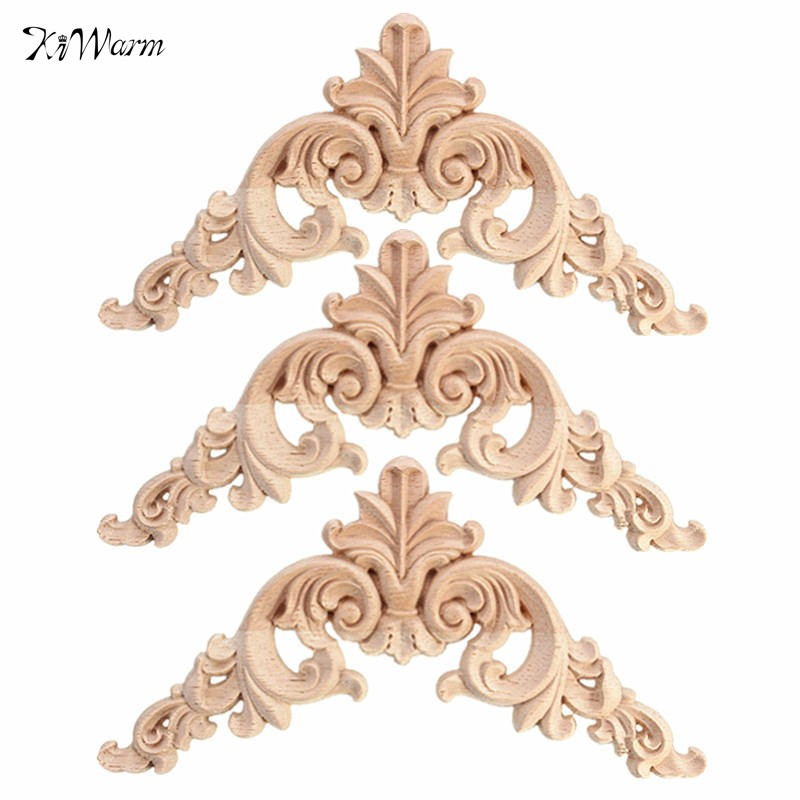 Modern 1PC 12.5 x 12.5cm Wood Oak Carved Corner Onlay Applique Furniture  Unpainted Decorative Figurines