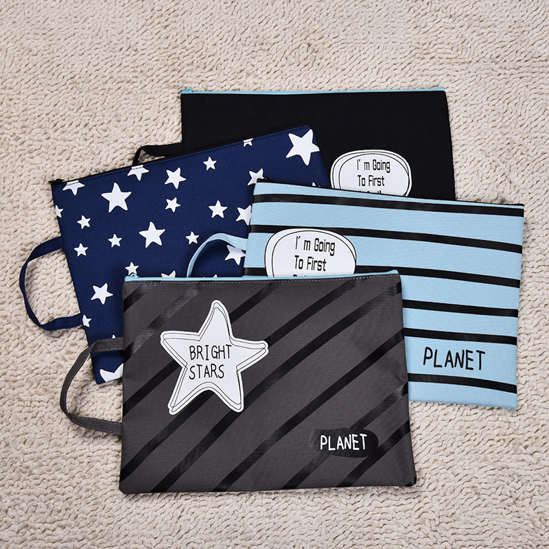Cool Planet A4 Canvas Bag Zipper Fabric File Folder For Documents Stationery 33*25cm Portable Document Bags School Suppliers