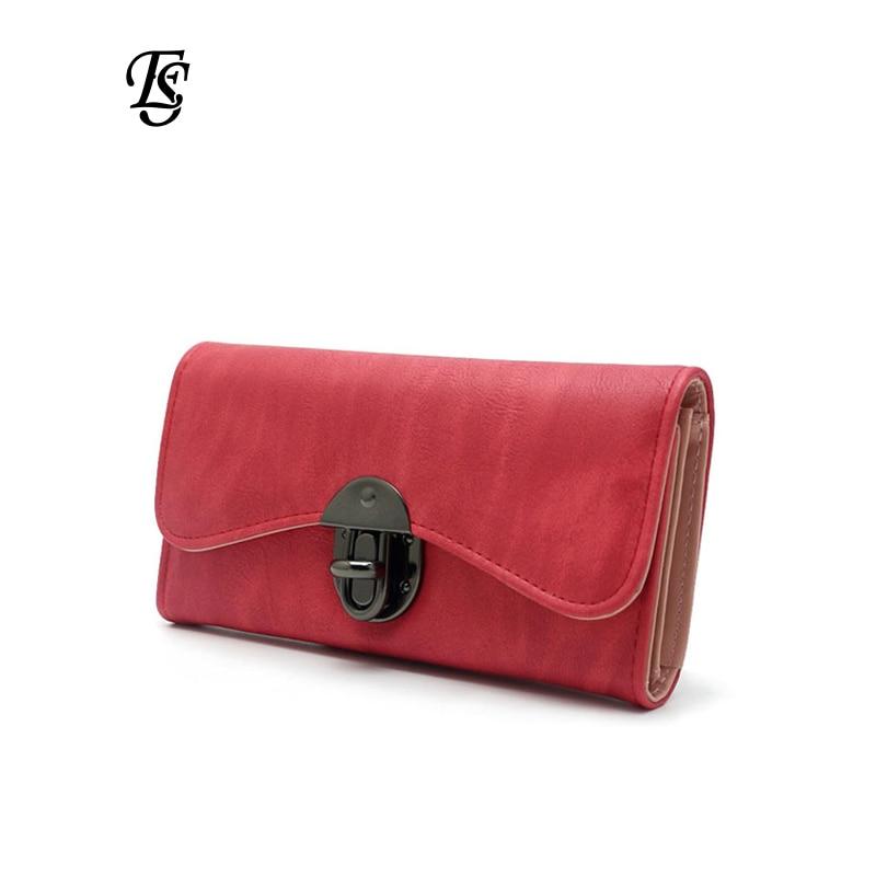 Vintage divat női pénztárca 2018 alkalmi PU bőr hosszú pénztárca tengelykapcsoló erszényes kiváló minőségű fém hasp női pénztárcák és pénztárcák