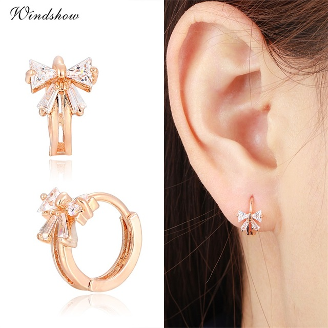 Cute Gold Color Bowknot W Cz Crystals Round Circle Huggies Small Hoop Earrings For Women