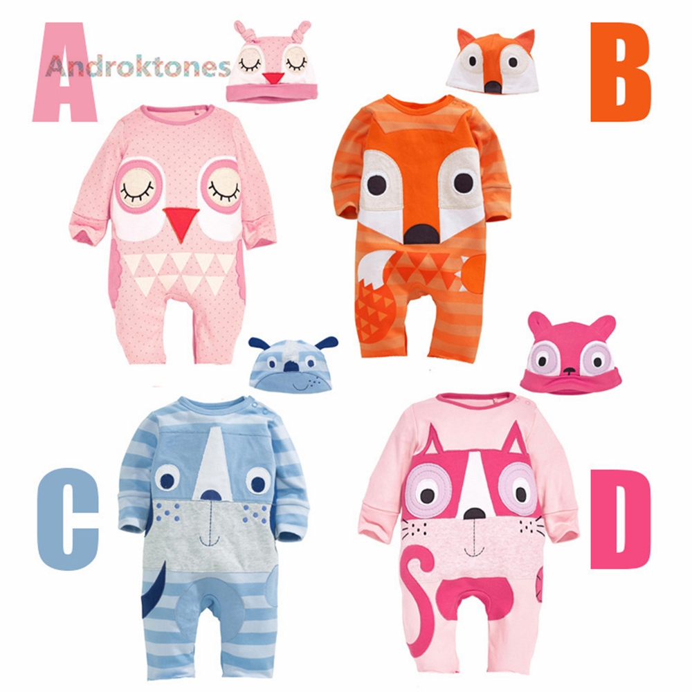 Androkton Newborn Romper Long Sleeve Onesie Cartoon Animal Fox Owl Baby Kids Girls Boys Pamjams Animal Pajamas Halloween Costume