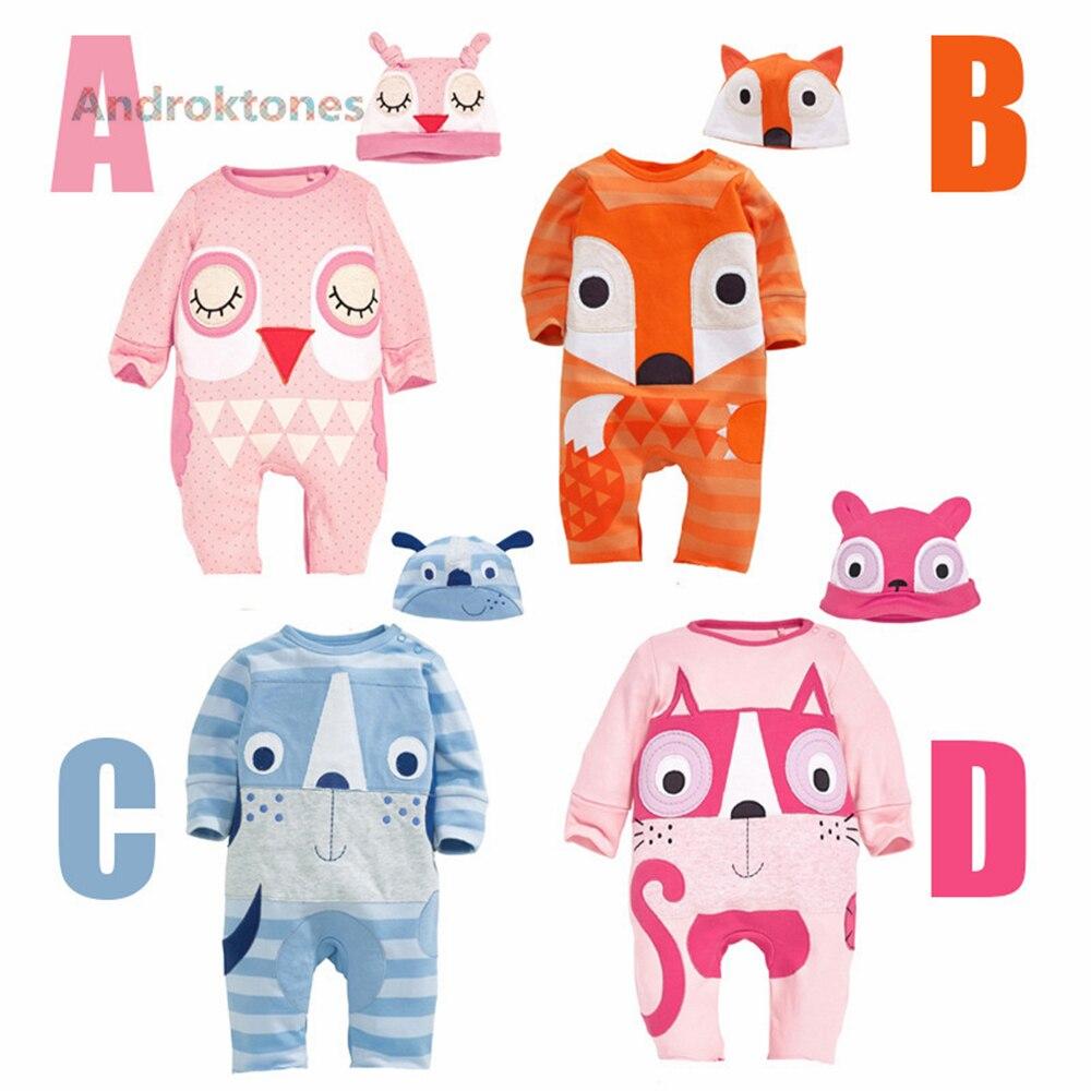 Androkton Newborn Romper Long Sleeve Onesie Cartoon Animal Fox Owl Baby Kids Girls Boys Pamjams Animal Pajamas Halloween Costume