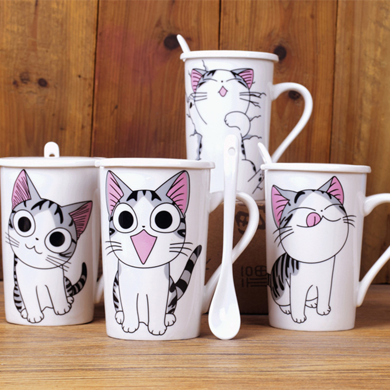 Cute Cat Style Ceramic Mugs 400ml with Lid Spoon Cartoon Creative Moring Mug Milk Coffee Tea