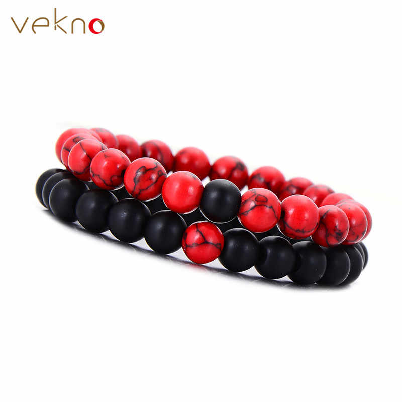 VEKNO 8mm Natural Beaded Bracelet Set Couple Jewelry Red & Black Lava Stone Stretch Bracelets Women Mens Yoga Jewelry