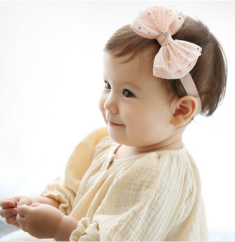 Moda Crianças Unisex Bonito Estrelas Bowknot Elastic Adorável Pricess Menina  Headband Do Cabelo Acessórios Presentes 6d7cc9714727