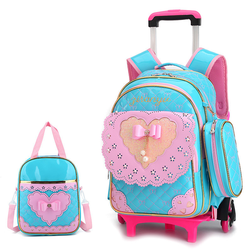 Cute Bow New Princess Style Girls Trolley School Bag 3PCS/set PU Leather Waterproof Wheeled Backpack Ruffles Removable Backpack