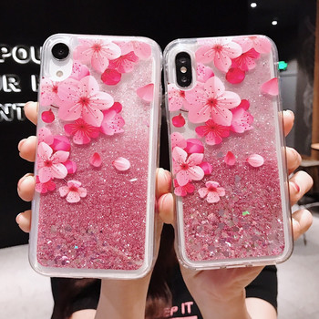 Bling Glitter Quicksand pink peach Case For iphone 5 5S SE 6 6S 7 PLUS 8 plus X XR XS MAX Phone cover fundas coque xs max cases