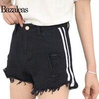 Bazaleas 2017 Slim Casual Jeans Short Summer Women Stretch Denim Shorts Stripe Celebrity Jean