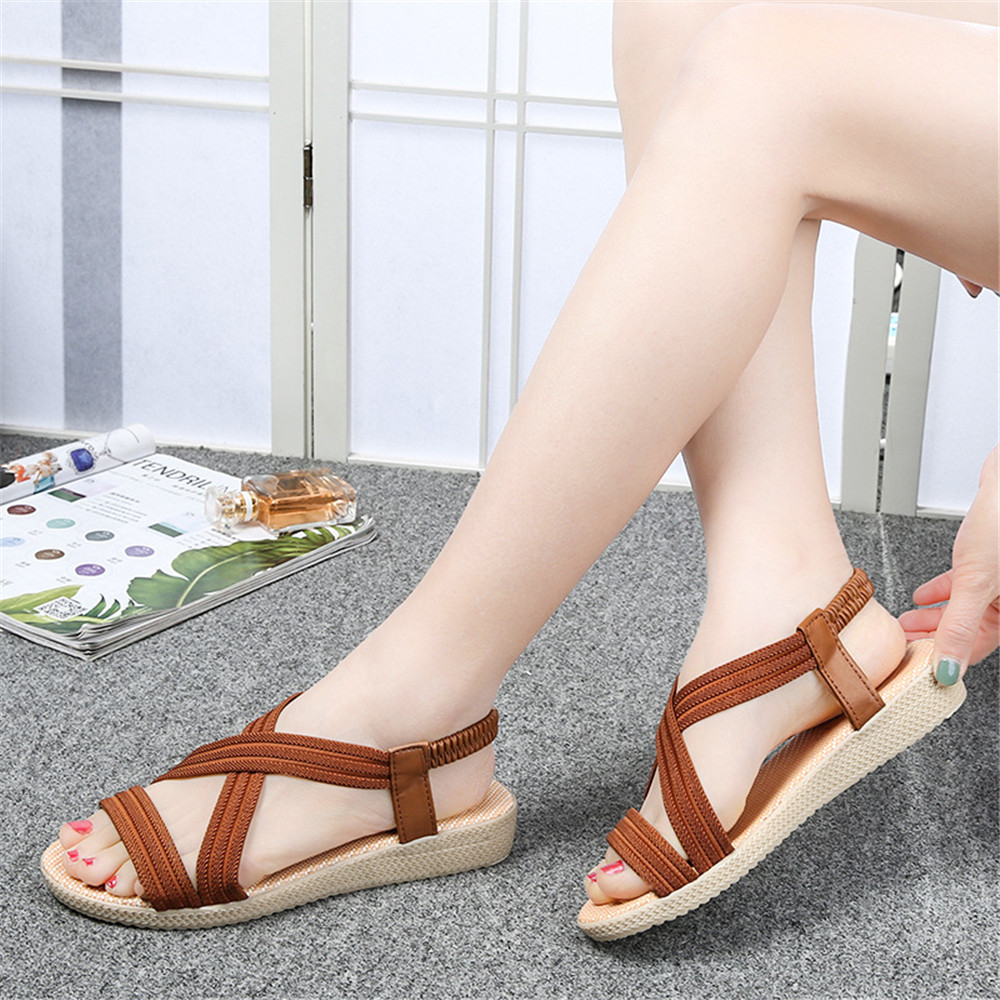 Roman Sandals Flats Cross-Strap Elastic Ankle Women Summer Mujer Zapatos-De-Mujer Lady