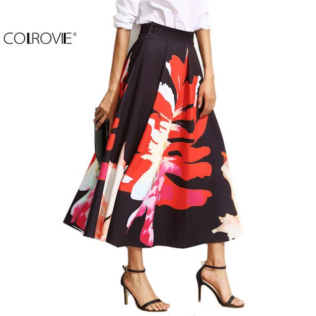 COLROVIE Saias Florais para Mulheres Outono Impresso Saia de Cintura Alta Do Vintage Elegante da Cópia Floral Plissada Uma Linha Saia Midi