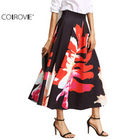 COLROVE Floral Skirts For Women Autumn Printed High Waist Vintage Skirt Elegant Floral Print Pleated A