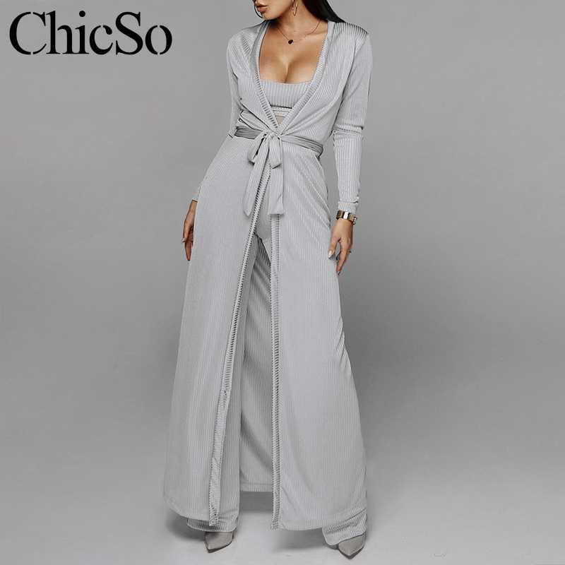 MissyChilli Grey 3pcs suit autumn sexy jumpsuit Women wide leg knitted long playsuit Female jumpsuits rompers overalls plus size
