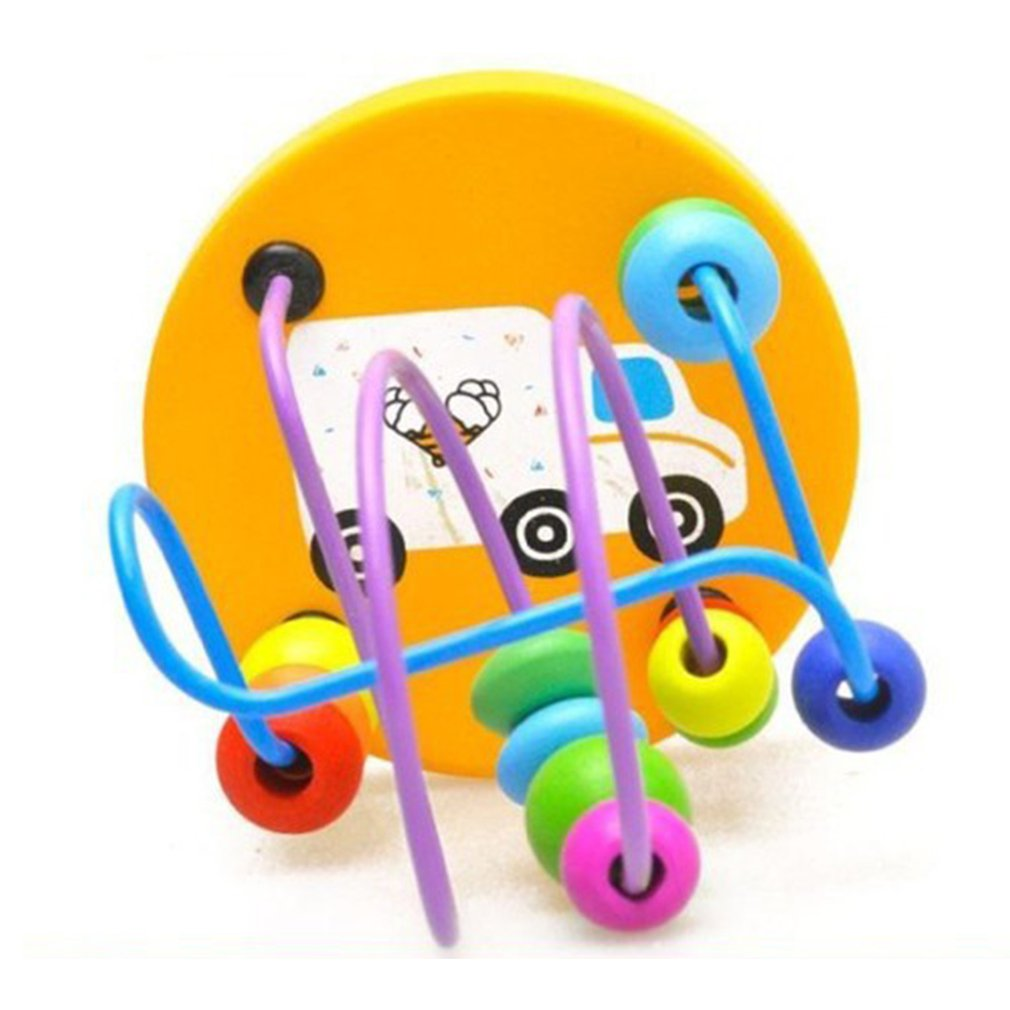 Early Learning Mini Toy Children Kids Toddler Baby Color Wooden Puzzle Toy Mini Around Beads Educational Mathematics Kids Gift