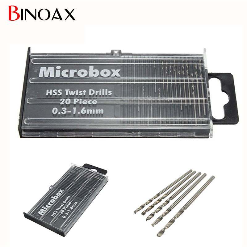 Binoax 20Pcs Mini drill bit High Speed Steel HSS Micro Twist Drill Bit Set 0.3mm-1.6mm Model Craft #P00137# new 10pcs jobbers mini micro hss twist drill bits 0 5 3mm for wood pcb presses drilling dremel rotary tools