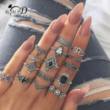 ROMAD Bohemian Flower Ring Sets for Women Vintage Retro Silver Color Lotus Stone Blue Crystal Rings Finger Jewelry 2018 R4