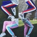 Nova Primavera Harajuku Calças Pantalones Mulheres Calças de Algodão Fino Casuais Calças Largas Listras Moda Patchwork Harem Pants Primavera