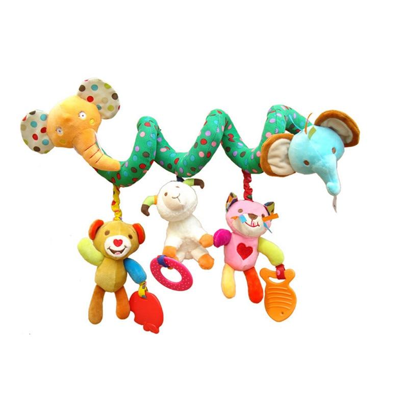 Baby Bed Rammelaar Baby Speelgoed Ring Geluid Activiteit Spiraal Bed Kinderwagen Speelgoed Dubbele Hoofd Leeuw Olifant Opknoping Bel Wieg Rammelaar speelgoed 1