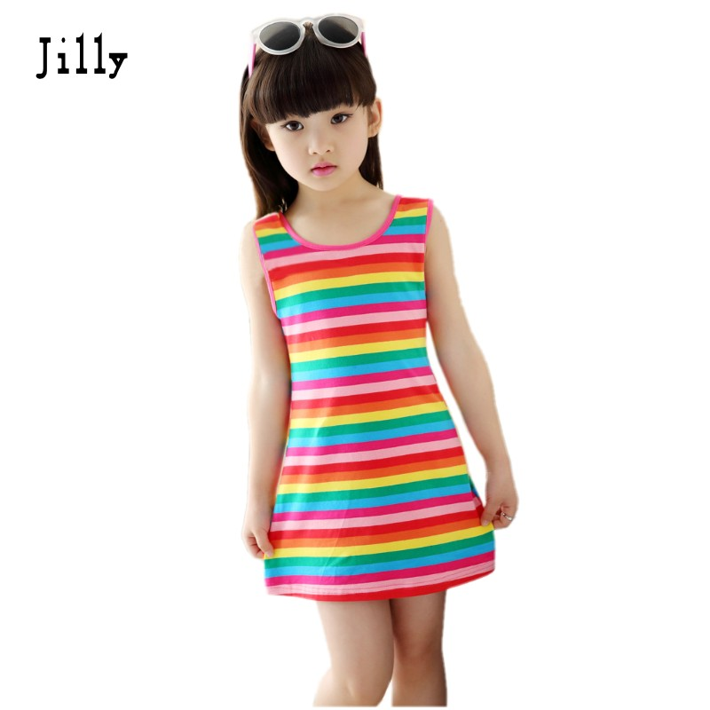 Barn Jenteklær Seeveless Rainbow Stripes Summer Girl Dress 100% Cotton 3-14 Years Kids Vest Kjoler For Teenage Girls