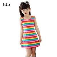 Children Girls Clothing Seeveless Rainbow Stripes Summer Girl Dress 100 Cotton 3 14 Years Kids Vest
