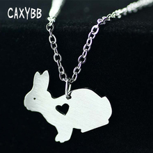 stainless steel Animal Rabbit Necklace Easter Basket Pet Bunny Pendant Charm Fashion Jewelry For women men Easter gifts