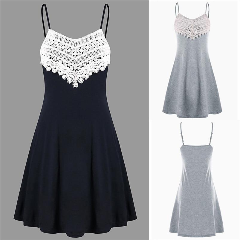 Fashion summer dress 2018 beach dress Womens Crochet Lace Backless Mini Slip Dress Camisole Sleeveless Dress vestidos J08#N (5)