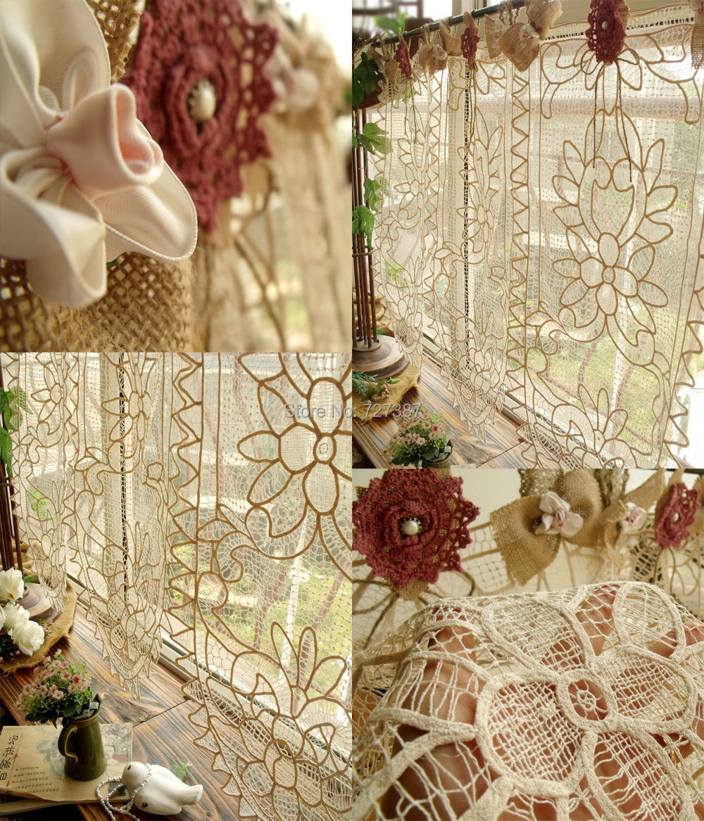 CUSTOM Vintage Lace Valance BURLAP Curtain SHABBY Cottage