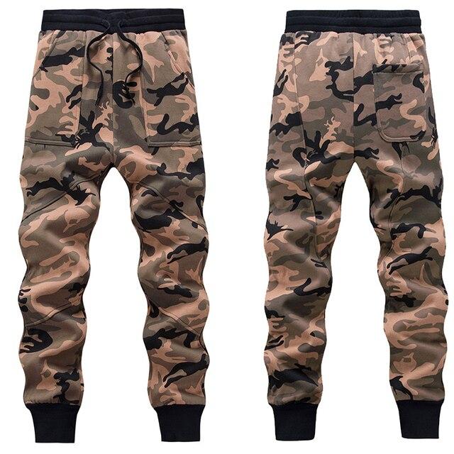 Los hombres de Lana de Camuflaje Pantalones Deportivos Hip-Hop Harem Gota Entrepierna Pantalones de Camuflaje Del Ejército Casuales Tractical masculino Cintura Elástica Pantalones 02