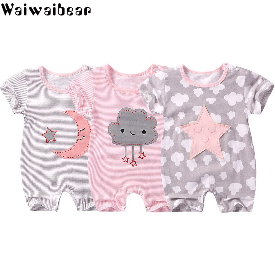 Girl Baby Cotton Round Clothes Short Sleeve Floral Print T-shirt Jumpsuit Romper