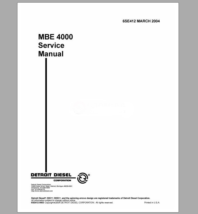 Detroit Diesel MBE 4000 Training Center Support Documentation-in ...