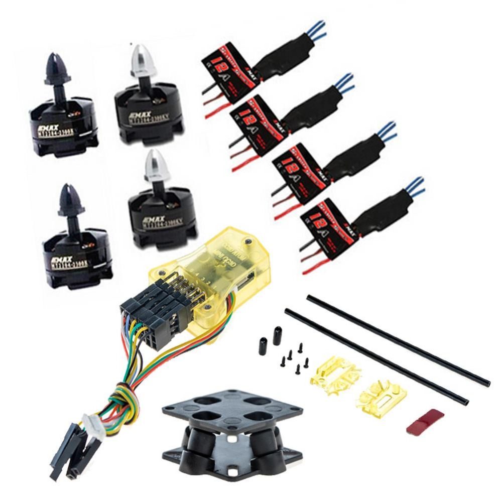 цена на JMT Flight Controller Mini CC3D + 4X Simonk 12A ESC + 4X MT2204 2300KV Brushless Motor CW CCW for FPV Mini RC Quadcopter