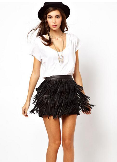 Tassel Summer/Spring Fashion Casual Wild Saia Midi Belt Leather Skirt For Women Package Hip Party Mini Skirt Leather