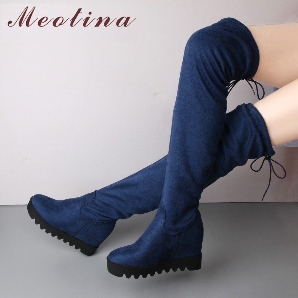 Meotina Over the Knee Boots Winter Thigh High Boots Women Platform Wedge Heel Faux Suede Slim Boots Boots Sexy Footwear Black faux suede over knee boots fashion wedge heel shoes women 2015 winter faux fur snow boots page 1