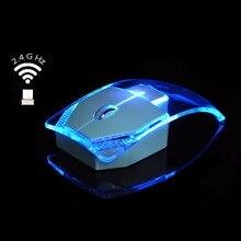 V6 Беспроводной Мышь креативные ультра-тонкие прозрачные красочный свет оптическая Беспроводной мышей для подарка для Тетрадь Mac Air