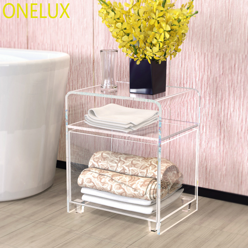 Купить с кэшбэком Waterfall Clear acrylic nightstand with a storage basket,Lucite bathroom tables