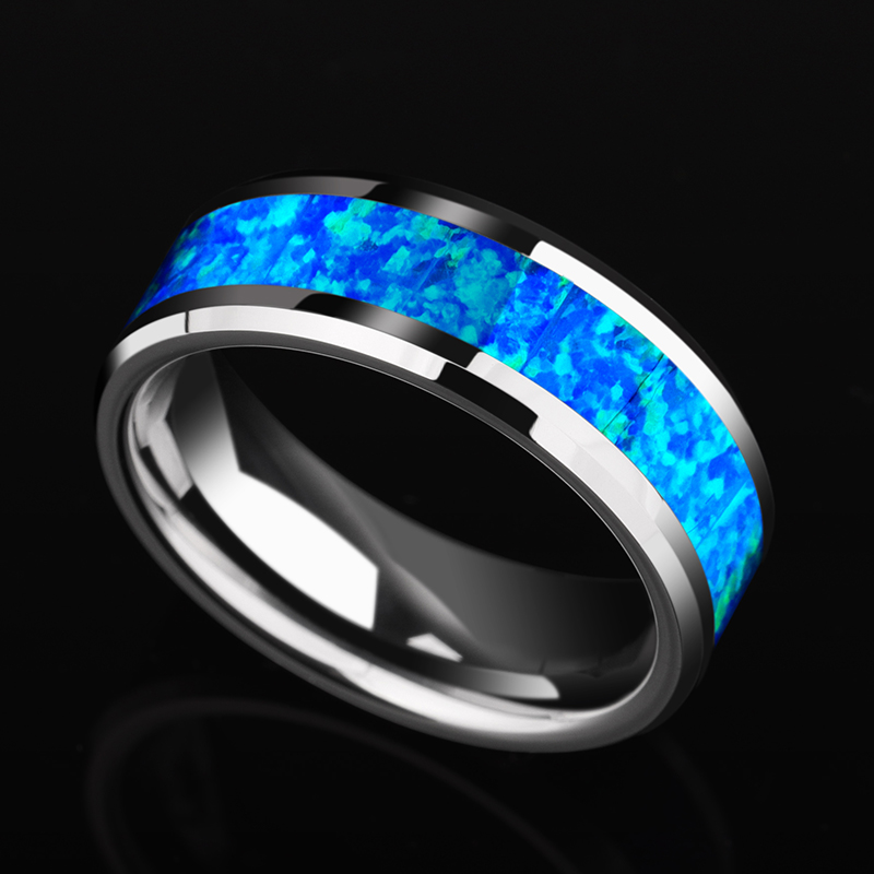 Saya Brand Luxurious 8mm Width Tungsten Wedding Ring inlay Blue Opal for Man Woman Fashion Jeweley