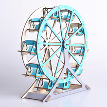 Laser Cutting 3D Wooden Puzzle Jigsaw Construction Ferris Wheel DIY Manual Assembly Kids Educational Toys for Children