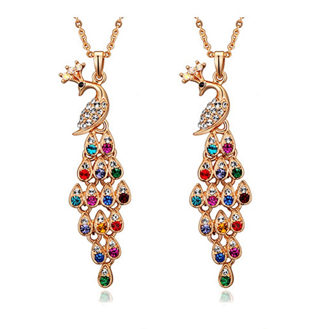 Multicolor Crystal Peacock Pendant Necklaces Women Fashion Jewelry Austrian Crystal  Rhinestone Long Gold Chain Sweater Necklaces 9aff75668c7b
