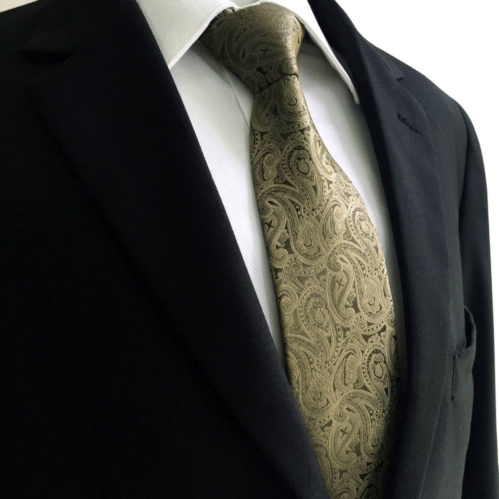E16 Brown Paisley Men Neckties Silk Fashion Hanky Groom Ties for male Classic Dress Extra long size Wedding