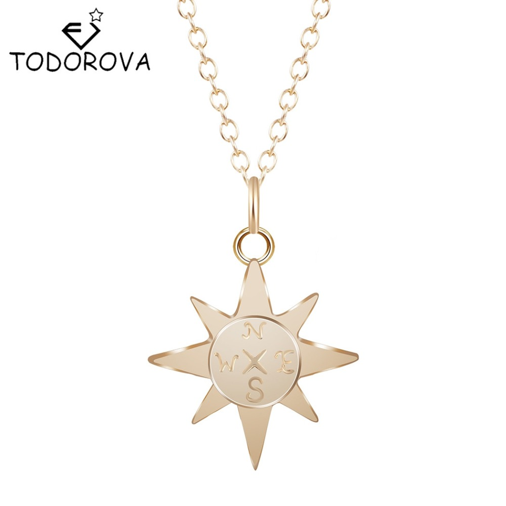 Todorova Charm Simple North Star Compass Necklace Women Adventure ...