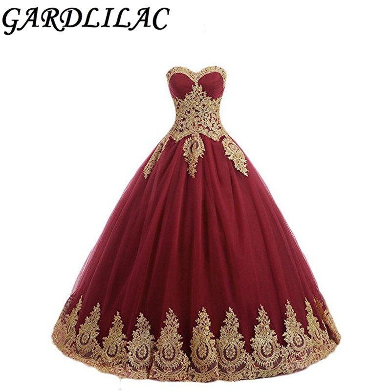 Gardlilac Lace Gold Applique Ball Gown Quinceanera Dresses Sweetheart  Off The Shoulder Vestido De 15 Ano