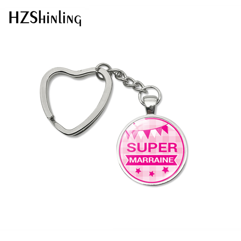 2019 New Fashion Super Marraine Parrain Papa Glass Dome Heart Keychain Girls Gifts French Pattern Bag Car Hold Key Chain Jewelry