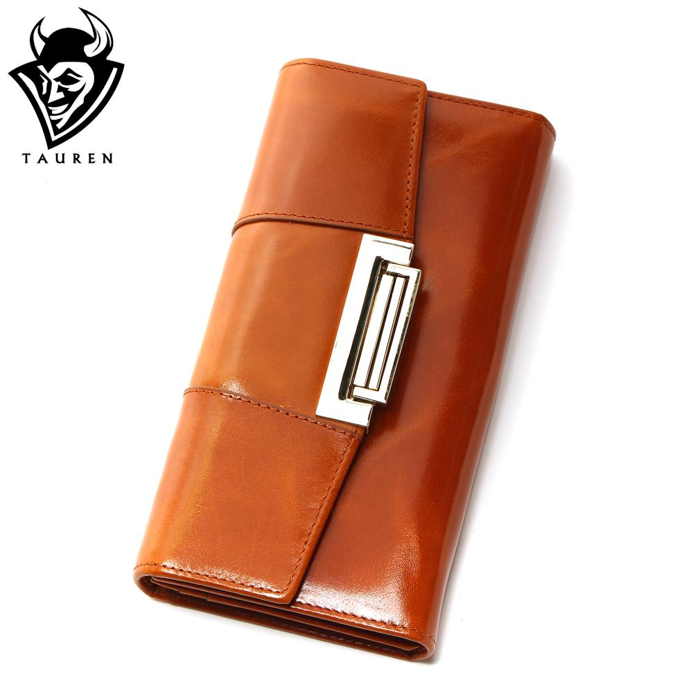Oil Wax Cowhide Women Genuine Leather Wallet Ccarteira Feminina Fashion Vintage Long Hasp Pocket Women s